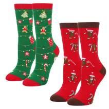 HAPPYPOP Christmas Socks Gift for Women Girls Gingerbread Crew Socks