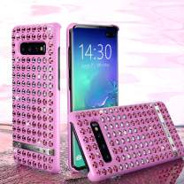 OCYCLONE [Heart-Love Series] Galaxy S10 Plus Case for Girls, Glitter Bling Diamond Rhinestone Luxury Sparkly Bling Protective Cute Galaxy S10 Plus Phone Case for Women - Pink