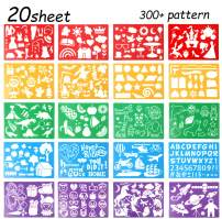 20 Pcs Drawing Stencils Set for Kids,Large Plastic Stencil Kit 300+ Different Patterns Drawing Templates for Girls & Boys Gift.