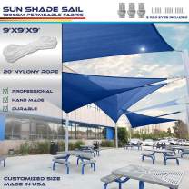Windscreen4less 9' x 9' x 9' Sun Shade Sail Canopy in Ice Blue with Commercial Grade (3 Year Warranty) Customized Size Included Free Pad Eyes