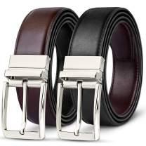 Mens Belt-Leather Dress Belt for Male Classic Black & Reversible (One Piece) …