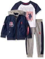 U.S. Polo Assn. Boys' Classic Zip Up Jacket, T-Shirt, and Fleece Jogger Set