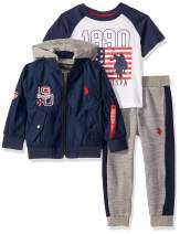 U.S. Polo Assn. Boys' Classic Zip Up Jacket, T-Shirt, and Fleece Jogger Set