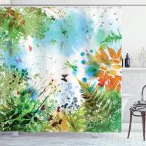 """Ambesonne Dragonfly Shower Curtain, Ferns Petals Flourishing Nature Fantasy Complex Mixed Digital Watercolors Image, Cloth Fabric Bathroom Decor Set with Hooks, 84"""" Long Extra, Multicolor"""