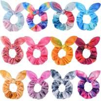 Bow Scrunchies for Hair, Funtopia 12 Pcs Cute Rabbit Bunny Ear Scrunchies, Fashion Colorful Tie Dye Scrunchy Hair Ties Bowknot Ponytail Holders for Women Girls Kids