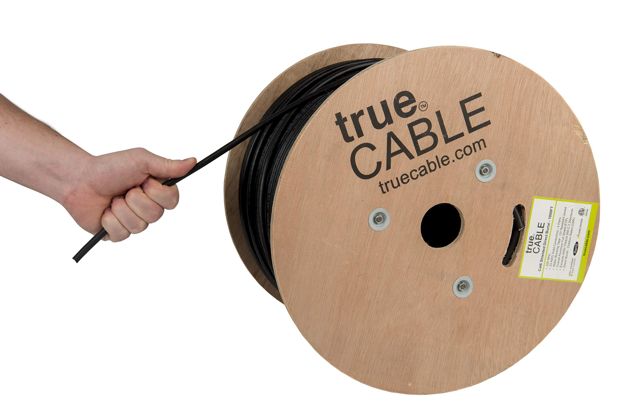 trueCABLE Cat6 Direct Burial, Shielded FTP, 1000ft, Waterproof, Outdoor Rated CMX, Black, 23AWG Solid Bare Copper, 550MHz, ETL Listed, Bulk Ethernet Cable