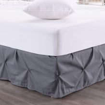 """Sweet Home Collection Pinch Pleat Bed Skirt Pin Tuck Dust Ruffle with 14"""" Drop, King, Gray"""