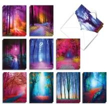 The Best Card Company - 20 Landscape Nature Note Cards Blank (4 x 5.12 Inch) (10 Designs, 2 Each) - Extreme Colors AM3178OCB-B2x10