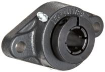 """Sealmaster SFT-15TC Standard Duty Flange Unit, 2 Bolt, Regreasable, Contact Seals, Skwezloc Collar, Cast Iron Housing, 15/16"""" Bore, 4-7/8"""" Overall Length, 3-57/64"""" Bolt Hole Spacing Width, 17/32"""" Flange Height"""