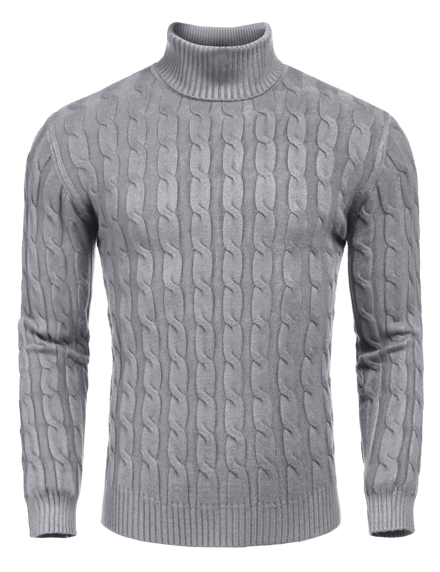 COOFANDY Men's Slim Fit Turtleneck Sweater Casual Twisted Knitted Pullover Sweaters