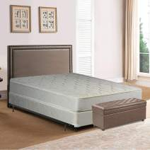 Spring Solution Gentle Firm Tight top Innerspring Mattress And 4-Inch Split Wood Box Spring/Foundation Set With Frame, Twin