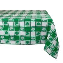 """DII 100% Cotton, Machine Washable, Party, St Patrick's Day & Spring Tablecloth, 52x52"""" , Green & White Check with Shamrock, Seats 4 People"""