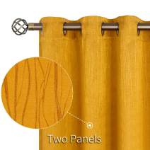 BGment Embossed Blackout Curtains for Bedroom - Grommet Thermal Insulated Room Darkening Curtains for Living Room, 52 x 63 Inch, Set of 2 Panels, Golden Yellow
