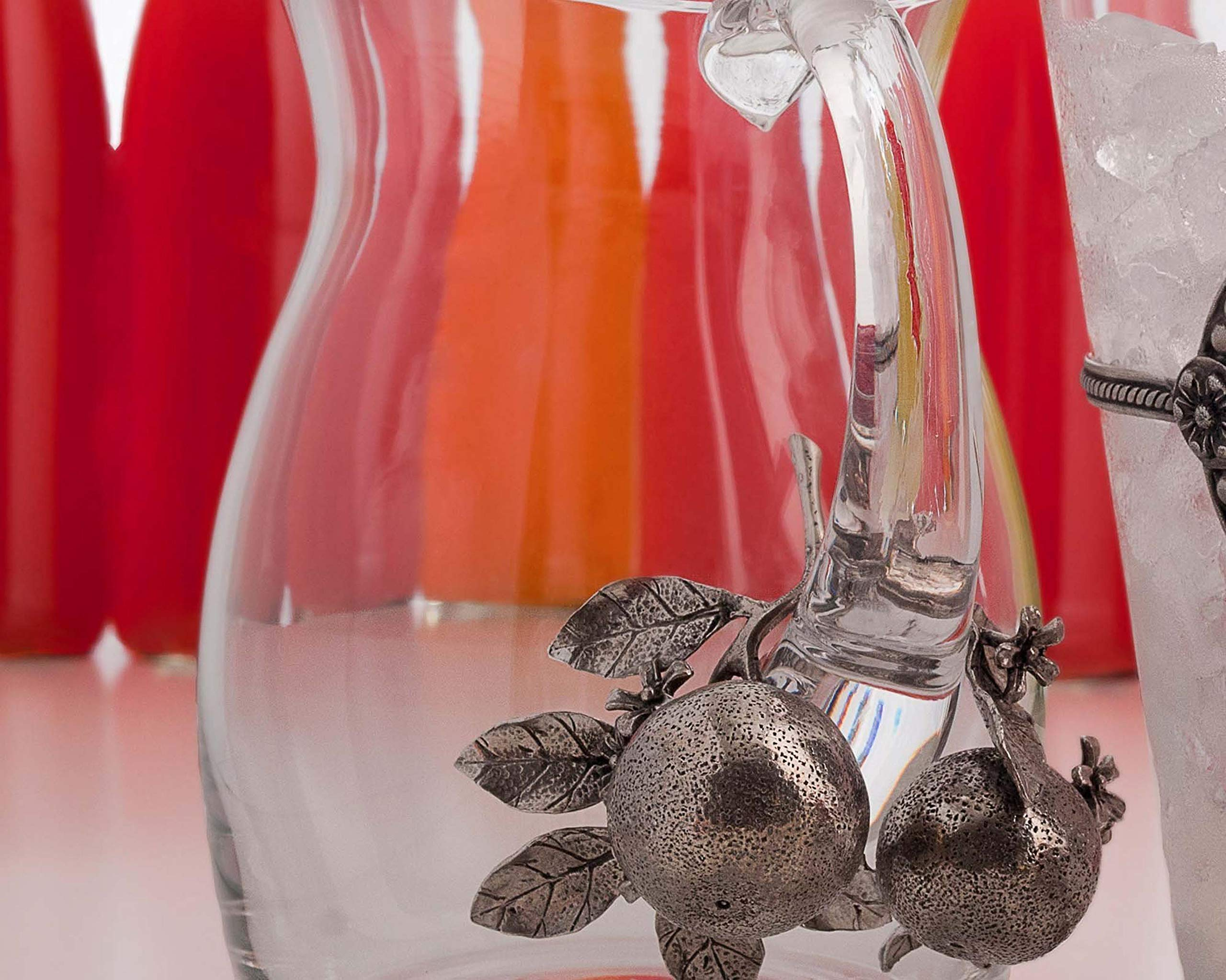 "Vagabond House Pewter Orange Blooms Glass Juice Serving Pitcher 8"" Tall"