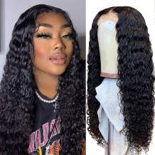TodayOnly Deep Wave Lace Front Wigs Human Hair Middle Part Deep Curly Wig for Black Women Brazilian Virgin Hair Glueless T Part Lace Frontal Wig Pre Plucked with Baby Hair (22 Inch, Natural Black)