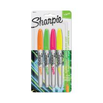 Sharpie Neon Permanent Markers, Fine Point, Assorted Colors, 4 Count