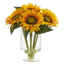 """Nearly Natural Artificial 12"""" Sunflower Arrangement in Glass Vase, Yellow"""