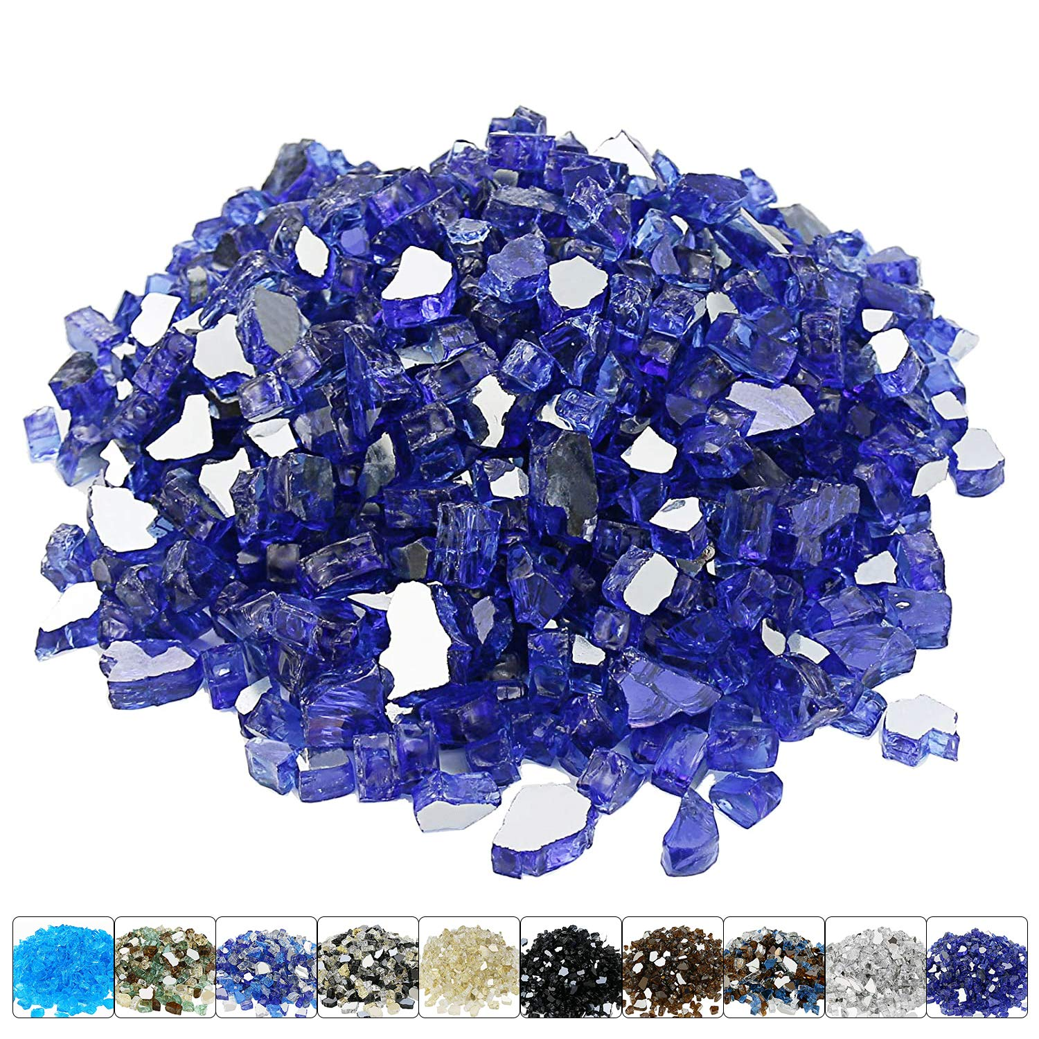 Hisencn 1/2 Inch Cobalt Blue Reflective Fire Glass Decorative for Natural or Propane Fire Pit, Fireplace, Tempered Glass Rocks Good for Indoor and Outdoor 10-Pounds