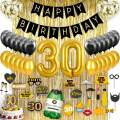 30th BIRTHDAY DECORATIONS Back & Gold| 30th Birthday Party Supplies, Decorations| Gold Foil Curtain & Confetti Balloons| Dirty Thirty| 30th Birthday Gifts for Women and Men| Photo Props Photo booth