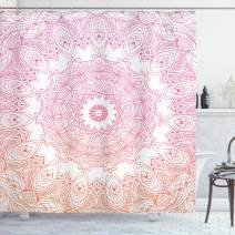"Ambesonne Mandala Shower Curtain, Outline Style Flower Mandala Design with Ombre Effect Elements, Cloth Fabric Bathroom Decor Set with Hooks, 70"" Long, Orange Pink"