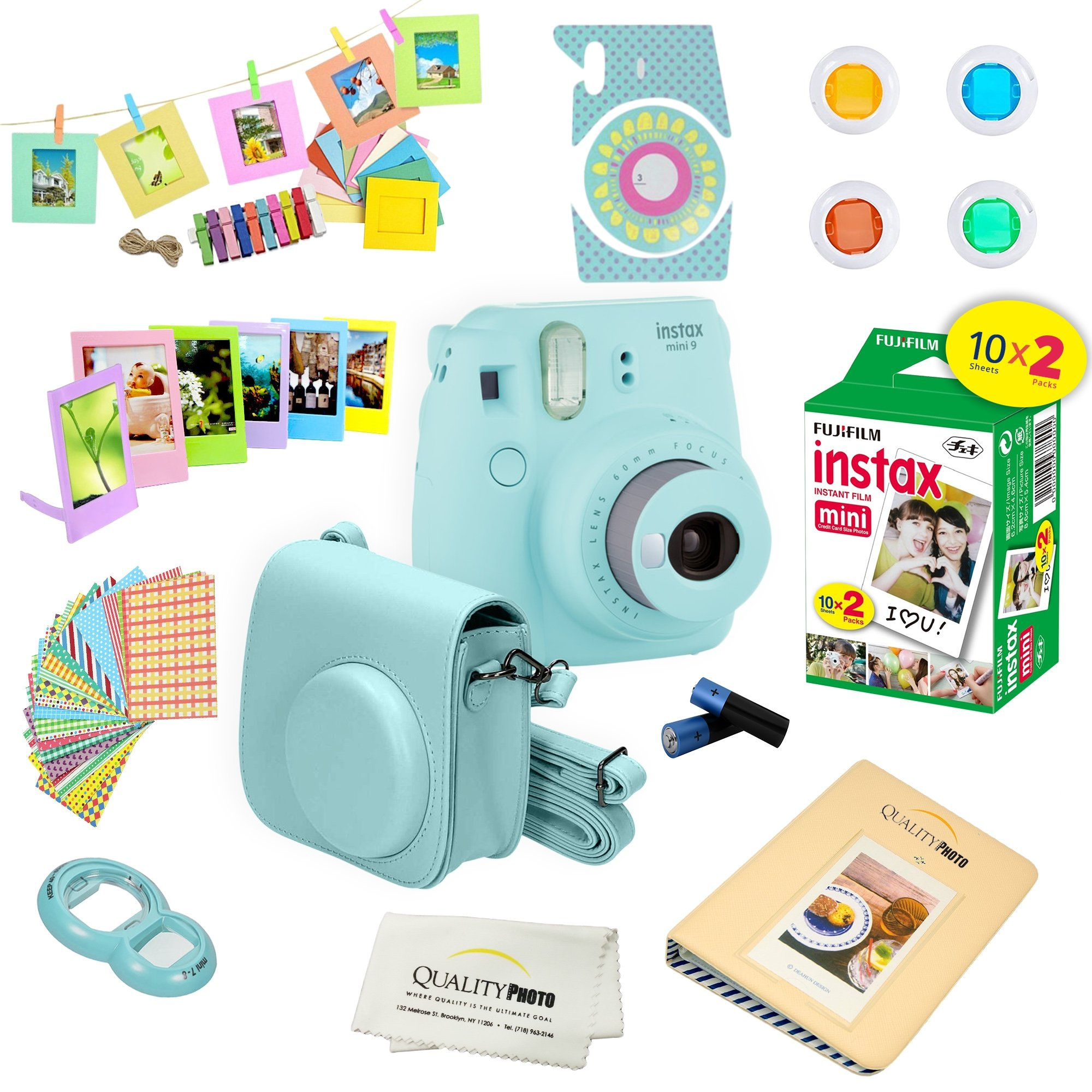 Fujifilm Instax Mini 9 Camera + Fuji INSTAX Instant Film (20 Sheets) + 14 PC Instax Accessories kit Bundle, Includes; Instax Case + Album + Frames & Stickers + Lens Filters + More (Ice Blue)