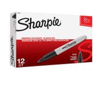 Sharpie Super Permanent Markers, Fine Point, Black, 12 Count