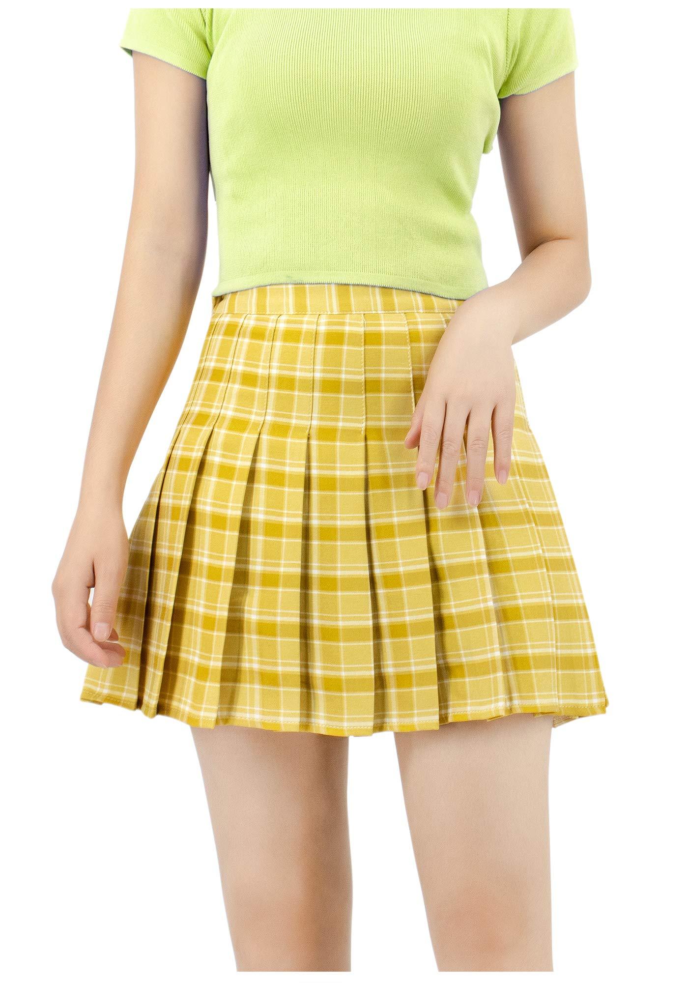 DAZCOS US Size Plaid Skirt High Waist Japan School Uniform Skirts for Women