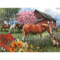 Bits and Pieces - 1000 Piece Jigsaw Puzzle - Chatting with The Neighbors, Horse and Dog - by Artist Thomas Wood - 1000 pc Jigsaw