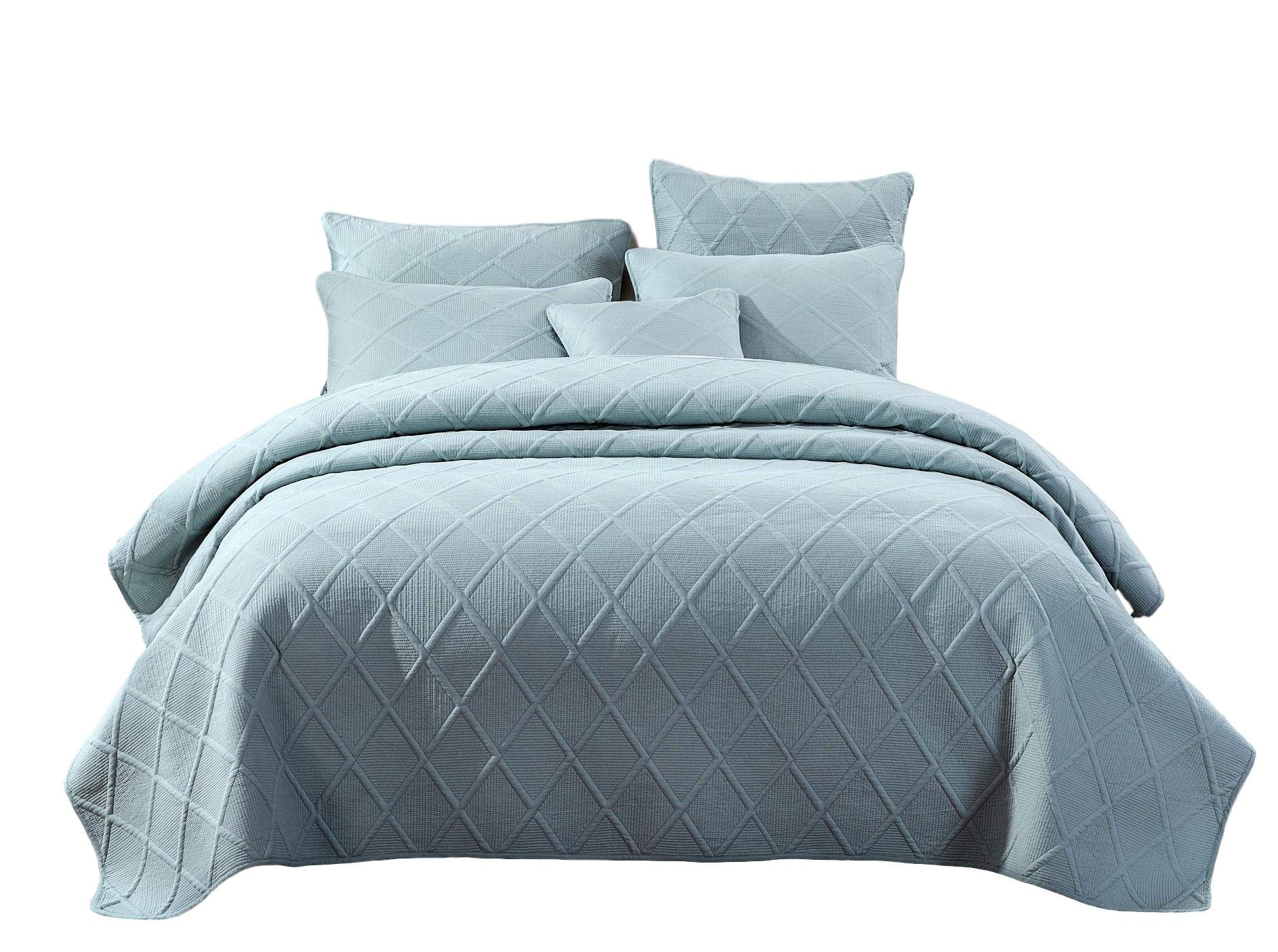 Tache Solid Seafoam Blue Green Soothing Pastel Soft Cotton Diamond Stitch Matelasse Pattern Lightweight Quilted Bedspread 2 Piece Set, Twin