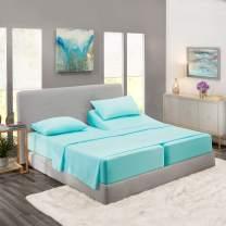 Nestl Bedding 5 Piece Sheet Set - 1800 Deep Pocket Bed Sheet Set - Hotel Luxury Double Brushed Microfiber Sheets - Deep Pocket Fitted Sheet, Flat Sheet, Pillow Cases, Split Cal King - Light Baby Blue