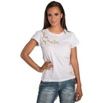 Sweet Vibes Junior Womens T-Shirt White Stretch Jersey Crew Neck Gold Foil Print