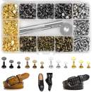 240 Sets Leather Rivets Kit Double Cap Brass Rivets Brass Rivets Leather Studs with 3PCS Setting Tools for Leather Repair and Crafts, 4 Colors and 3 Sizes Jetmore