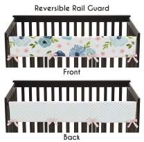 Sweet Jojo Designs Navy Blue and Pink Watercolor Floral Girl Long Front Crib Rail Guard Baby Teething Cover Protector Wrap - Blush, Green and White Shabby Chic Rose Flower Polka Dot