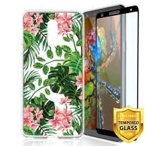 TJS LG Stylo 4 2018/LG Stylo 4 Plus/LG Q Stylus/LG Q Stylus Plus/LG Q Stylus Alpha Phone Case, [Full Coverage Tempered Glass Screen Protector] TPU Matte Color Transparent Clear Soft Skin (Leaf)