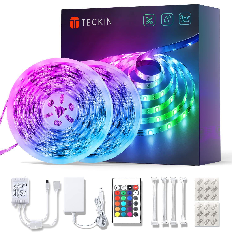 Led Strip Lights 32.8ft 10m TECKIN Remote Waterproof and 12V Power Supply Flexible Color Changing 5050 RGB 300 LEDs Light Strips Kit for Home, Bedroom, Kitchen,DIY Decoration