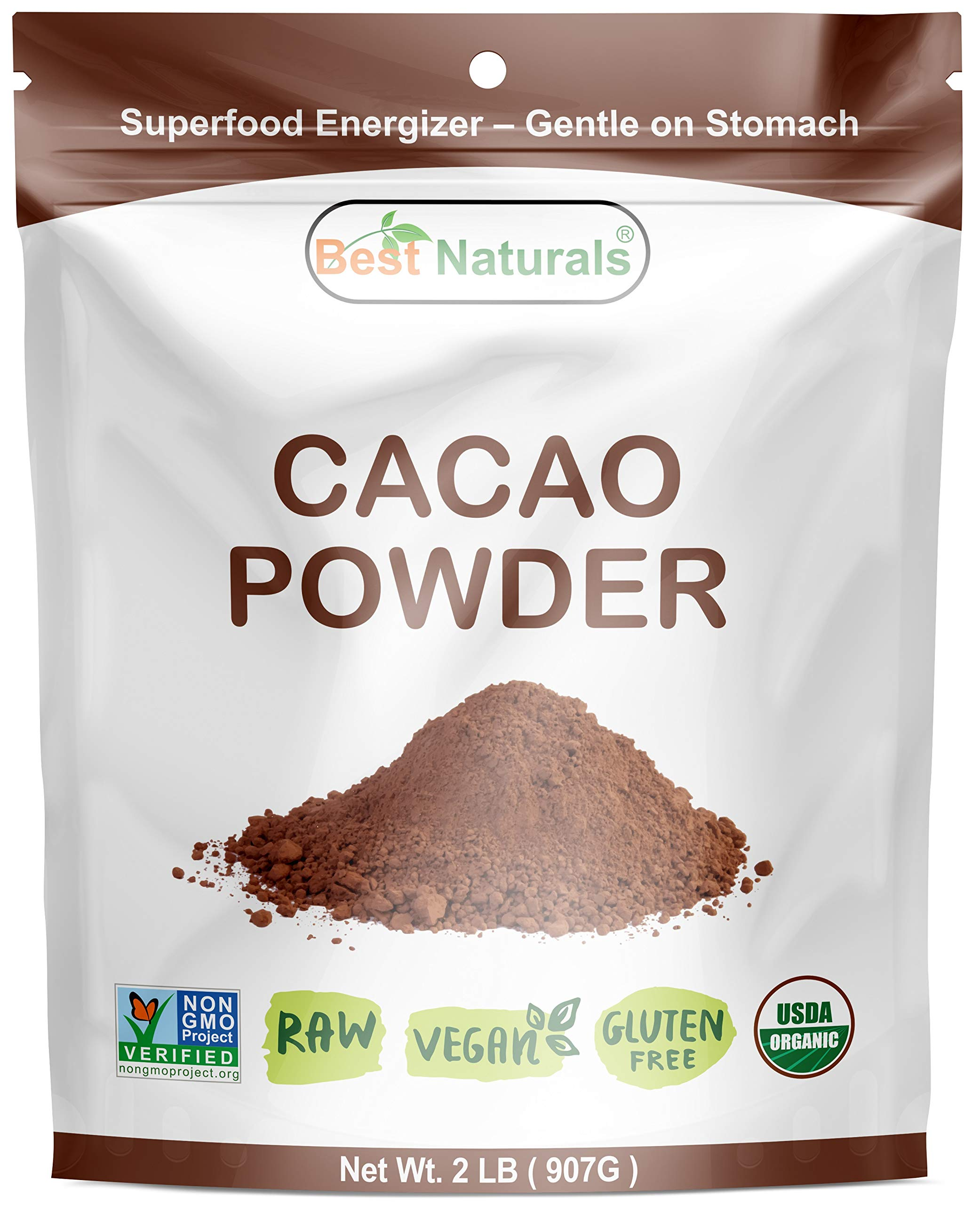 Best Naturals USDA Certified Organic Cacao Powder 2 Pound - Non-GMO Project Verified
