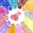 Umillars 12 Boxes Chunky Glitter Sequins Kit Holographic Flakes Cosmetic Festival Ultra-thin Iridescent Sequins For Body Face Hair Make Up Nail Art Mixed Color