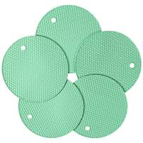 Gifts for Friends&Family, Silicone Pot Holder and Oven Mitts, Multipurpose Non-Slip Insulation Honeycomb Rubber Hot Pads Trivet, Heat Resistant Antislip Place Mat, Pack of 5 (Light Green)