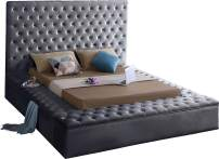 Meridian Furniture BlissGrey-Q Bliss Collection Modern | Contemporary Velvet Upholstered Bed with Deep Button Tufting and Storage Compartments in Rails and Footboard, Grey, Queen