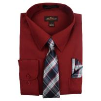 Alberto Danelli Men's Long Sleeve Dress Shirt with Matching Tie and Handkerchief Set
