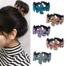 Rhinestone Hair Clip for Women - 5Pack Half-balloon Nest Expanding Hairpin Girls Hair Claws Hair Bun Holders Accessories (mixed 5 color-1)