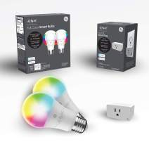 C by GE A19 Color Smart Light Bulbs + Smart Plug (2 Color Bulbs + On/Off Smart Plug), Kids' LED Lights for Bedroom Starter Kit, LED Party Lights, Works with Alexa and Google Assistant, WiFi Enabled
