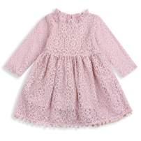 Toddler Kids Girls Hollow Lace Dress Ruffle Sleeves Princess Party Dress Vintage Tassles Birthday Pom Pom SIRT Dress Summer