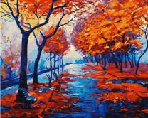 YXQSED [Framless] DIY Oil Painting Paint by Number Kit for Adults Kids-Romantic Love Autumn (2) 16x20 Inch