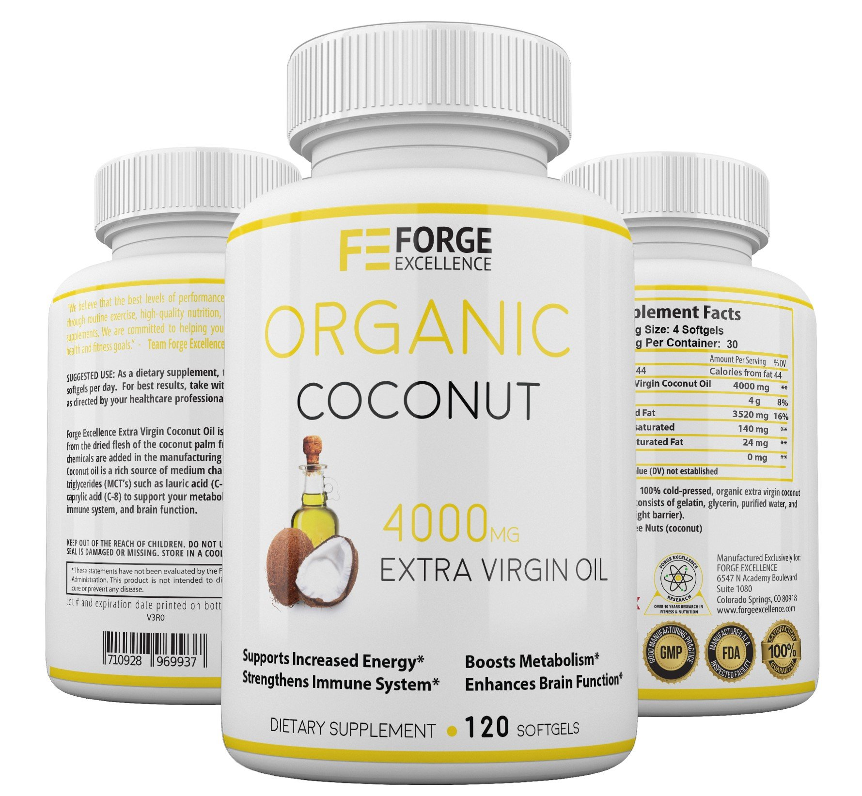 Forge Excellence - Extra Virgin, Pure, Unrefined Coconut Oil Dietary Supplement - GMO Free & FDA Approved - Boosts Your Energy, Metabolism, Brain Function & Immune System–Made in USA–120 Softgels