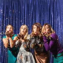 Eternal Beauty Non-Transparent Sequin Backdrop/Curtain, Glittery, Thick, Shiny Party Sequin Backdrop/Curtain (Color: Navy Blue, Size: 4ft x 6ft)