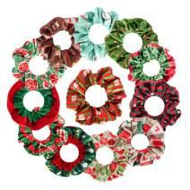12 Pcs Christmas Hair Scrunchies, Cute Cartoon Elastic Hair Ties with Christmas Elements Patterns, Hair Accessories for Christmas New Year, Christmas Design Set-2