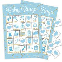 DISTINCTIVS Blue and Gold Boy Baby Shower Bingo Game - 24 Guests