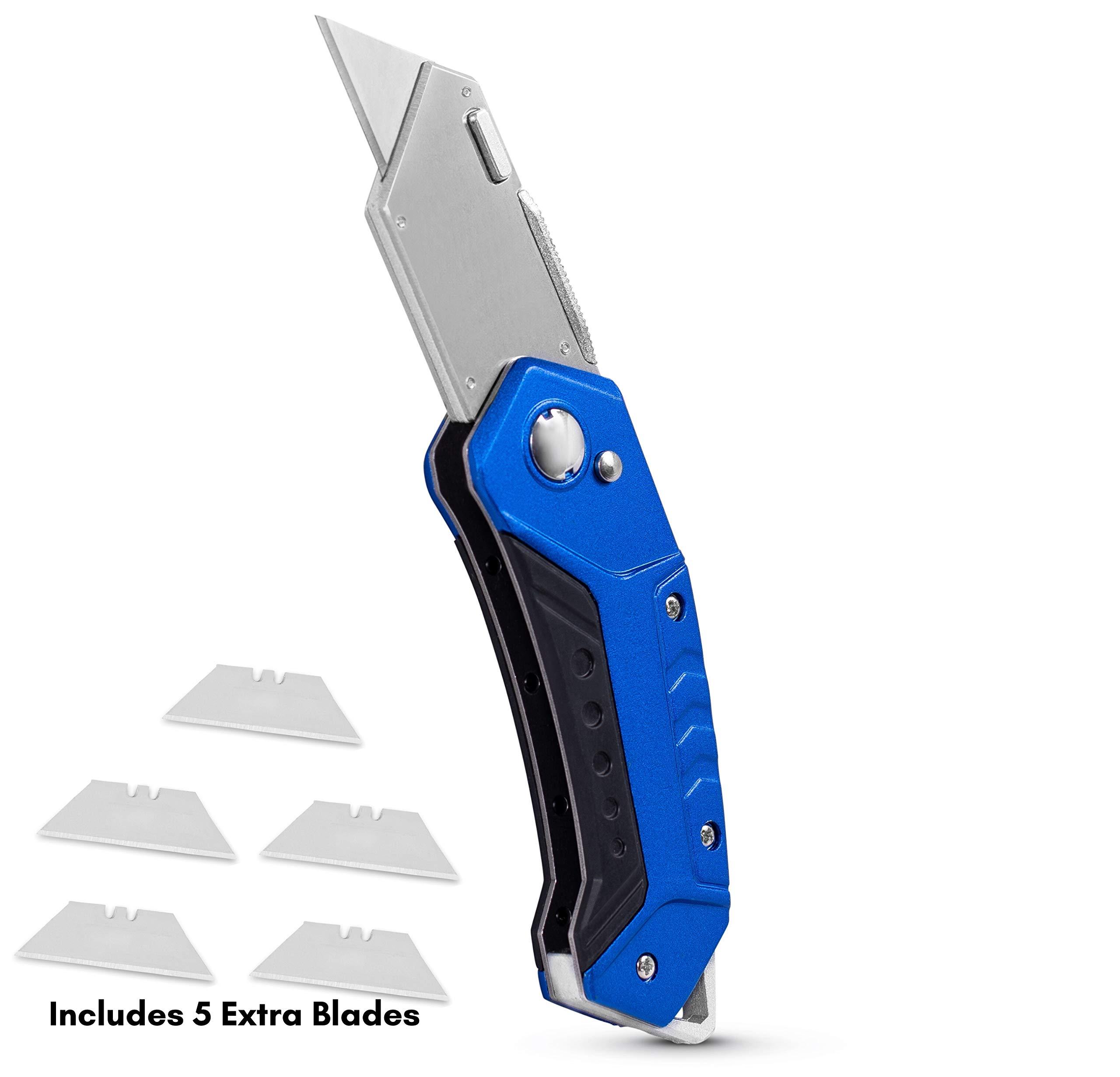 BirdRock Home Premium Folding Utility Knife – Small Compact Pocket – Folding Box Cutter Tool – 5 Extra Razor Blades – Cut Cardboard Boxes – Locking Safety Knife Set – Heavy Duty Aluminum Body