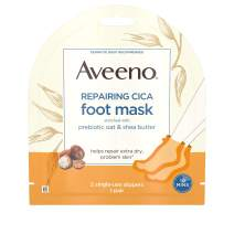 Aveeno Repairing CICA Foot Mask with Prebiotic Oat and Shea Butter, Moisturizing Foot Mask for Extra Dry Skin, 1 Pair of Single-Use Slippers ( Pack of 3)